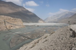 Trekker Crossing Bridge Kali Gandaki River Valley Annapurna Circuit Trek Upper Mustang Trekking Hike Hiking Nepal