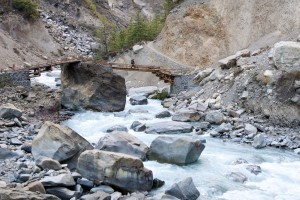 Trekker Crossing Bridge Annapurna Circuit Trek Trekking Hike Hiking Nepal
