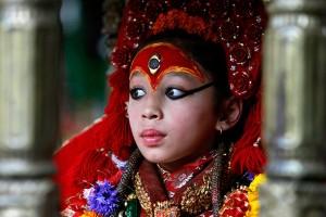 Living Goddess Kumari Nepal Hindu Religion Festival Festivals Religious Temple