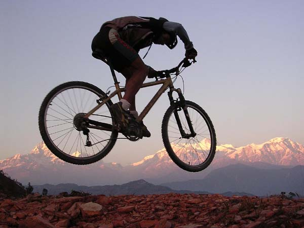 Mountain Biking Bikes Kathmandu Valley Ridge Nepal Himalayas