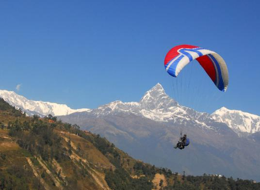 Paragliding Paraglide Machhapuchchhre Machapuchare Machapuchre Macchapuchare Fish-Tail Fish Tail Mountain Pokhara Nepal Thermals Himalayas Adventure Sports
