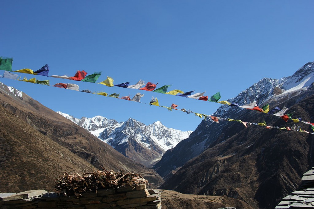 Prayer Flags Mu Gompa Tsum Valley Trek Trekking Hike Hiking Nepal