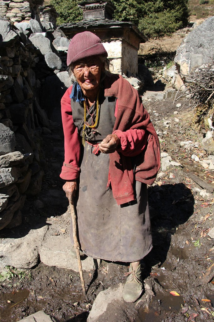 Elderly Tibetan Lady Tsum Valley Trek Trekking Hike Hiking Nepal