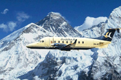 Mountain Flight Himalayas Nepal Tourist Airplane View