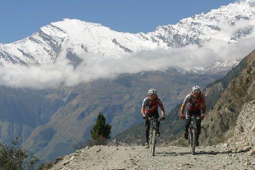 Mountain Biking Bikes Annapurna Massif Nepal Himalayas