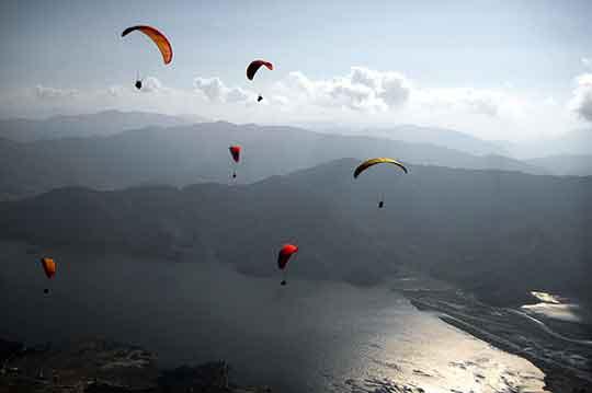 Paragliding Paraglide Fewa Lake Phewa Tal Pokhara Nepal Thermals Himalayas Adventure Sports