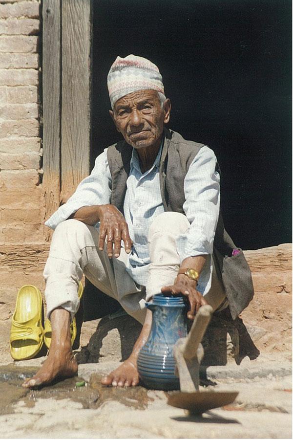 Man Washing Feet Kathmandu Nepal