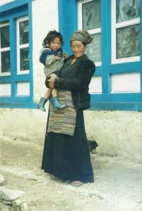 Woman Child Everest Panorama Trek Khumbu Valley Trekking Hike Hiking Nepal